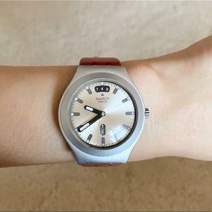 Swatch Water-Resistant Watch + Orange Rubber Strap